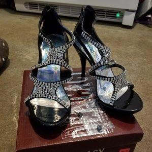 Black heels with Rinestones